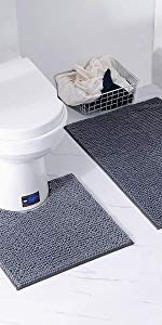 XIYUNTE Non-Slip Bath Mat Set - 2 Piece Bath Mats amp; Bathroom Toilet Set
