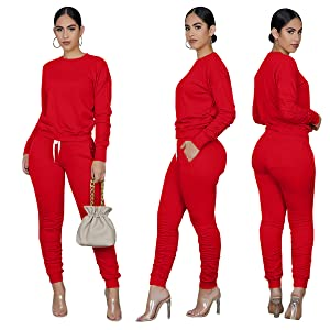 Sweat Suit for Women Set Casual Winter 2 Piece Outfits Sweatsuits Tracksuit Sport Outfit