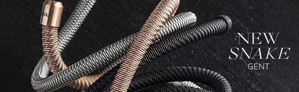 breil;gioielli uomo;new snake;acciaio;modellabile;maglia mesh