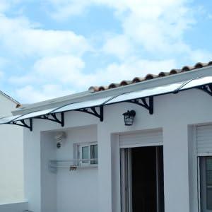 MVPOWER Marquesina para Puertas y Ventanas Tejadillo de Protección Toldo Cubierta de Policarbonato en Jardín al Aire Libre Dosel de Techo (190 * 98.5cm, negro): Amazon.es: Bricolaje y herramientas