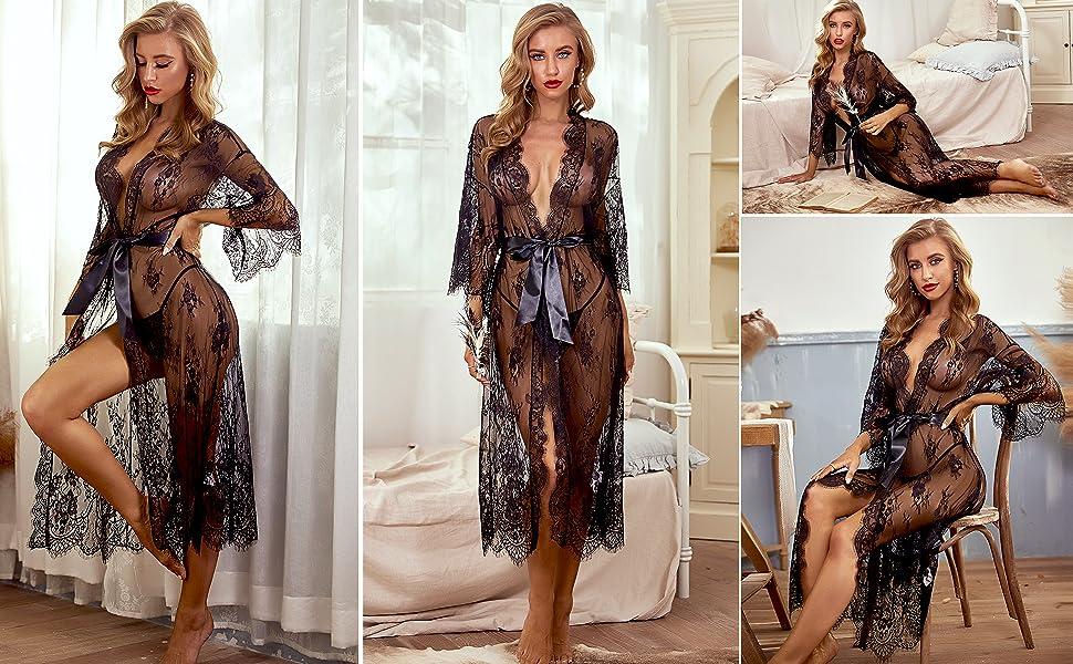black lingerie robe