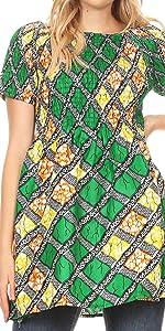 african ankara color print short sleeve stretchy elastic dress short mini tunic event casual short