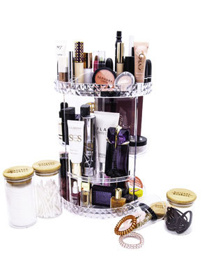 Makeup Organiser with Glass Storage Jars