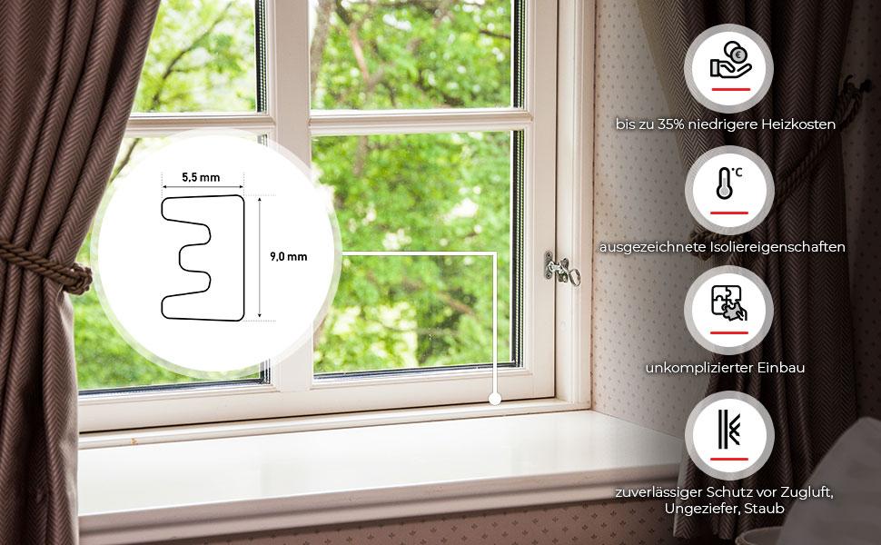 ab 1m Gummidichtungen Fensterdichtung Abdichtung bis 100m Modell Fenster EPDM