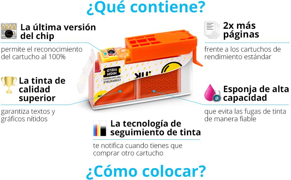 Smart Ink Reemplazo Compatible del Cartucho de Tinta HP 364 XL 364XL High Yield Pack (4BK & 2C/M/Y) para HP Photosmart 5510 5514 5515 5522 5525 6510 6520 6525 Deskjet 3520 3524 Officejet 4620 4622: Amazon.es: Oficina y papelería