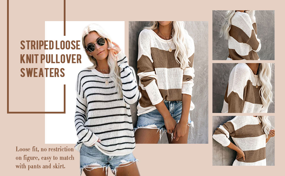 Hibluco Women's Round Neck Long Sleeve Striped Color Block Knit Sweater Casual Pullover Jumper Tops