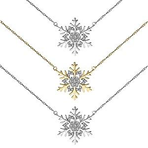 Snowflake Snow Winter Flake Blizzard Holiday Silver Necklace Pendant Diamond Women Christmas Symbol