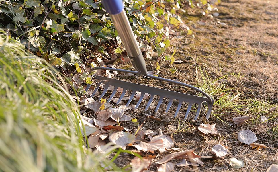 Lawn rake hay garden metal adjustable heavy duty bow rake grass landscape yard leveling gardening