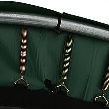 Antislip bevestiging van het kussen binnen en buiten met spanrubbers op springdoek en frame.