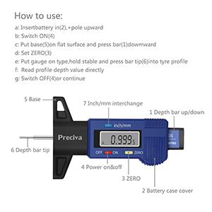 Strimm Electronic Digital Car Trucks SUV 0.01 mm 0.0005 inch Tire Tyre Wheel Tread Depth Gauge Vernier Caliper Wear Detection