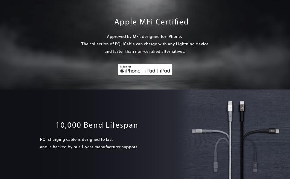MFi Certified & 10000 bend lifespen