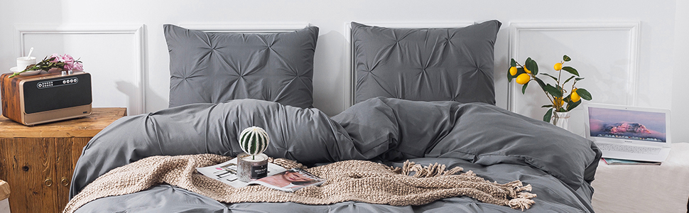 dark gray pinch pleated duver cover set