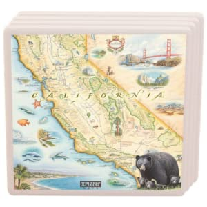 Xplorer Maps Regional Ceramic California Coaster Highly Absorbent Tabletop Protection For Cold Drinks Wine And Drinking Glass Suitable For Any Kinds Of Mugs And Cups Kitchen Dining