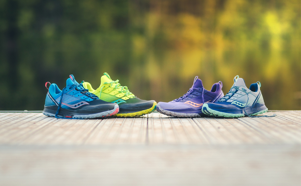 saucony mad river tr trail running shoe in 4 different colors
