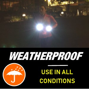 knuckle lights are weatherproof and can be used in any conditions for running in the dark