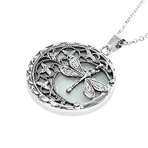 Shop LC Delivering Joy Round Dragonfly Chain Pendant Necklace Vintage Jewelry for Women Gifts for Her Stainless Steel 20