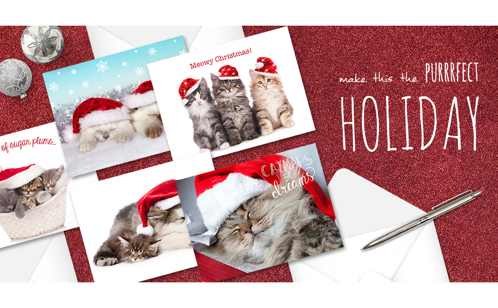 dog ad cat  lover christmas holiday cards unique #1