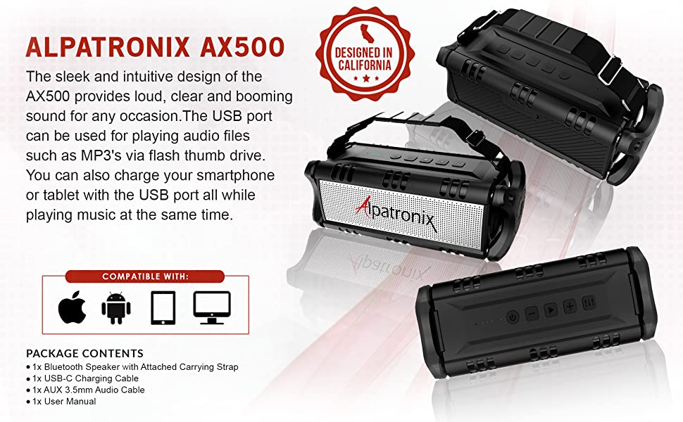 Black Alpatronix AX500 Waterproof BT Speaker with TF card slot & 8000mah powerbank to charge