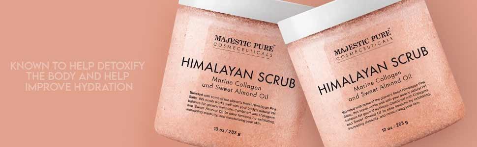majestic pure Himalayan scrub pink salt natural exfoliator exfoliate scrubber tone smooth skin body