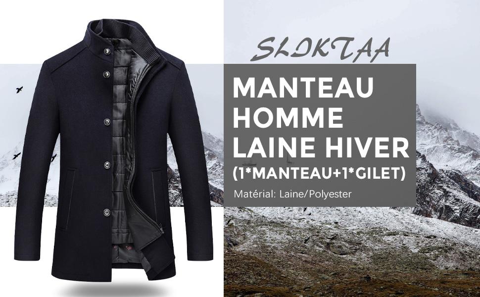 Sliktaa Manteau d'hiver épais en laine pour homme Col