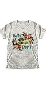 Happy Camper Floral Print Tshirt