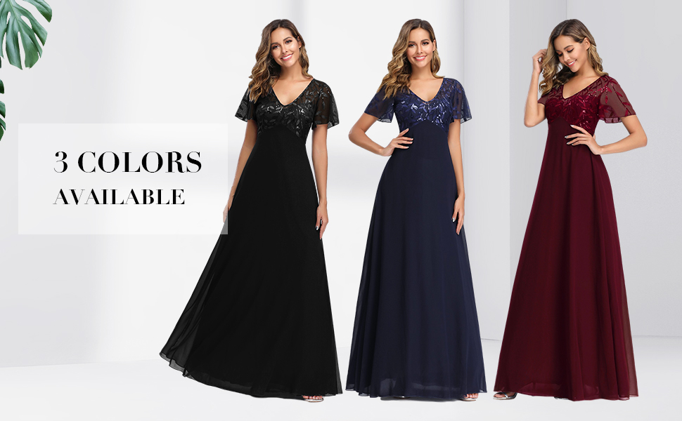 Sequin A-line V-neck Formal Dress for Women Embroidery Short Sleeve Wedding Guest Dress Ever Pretty