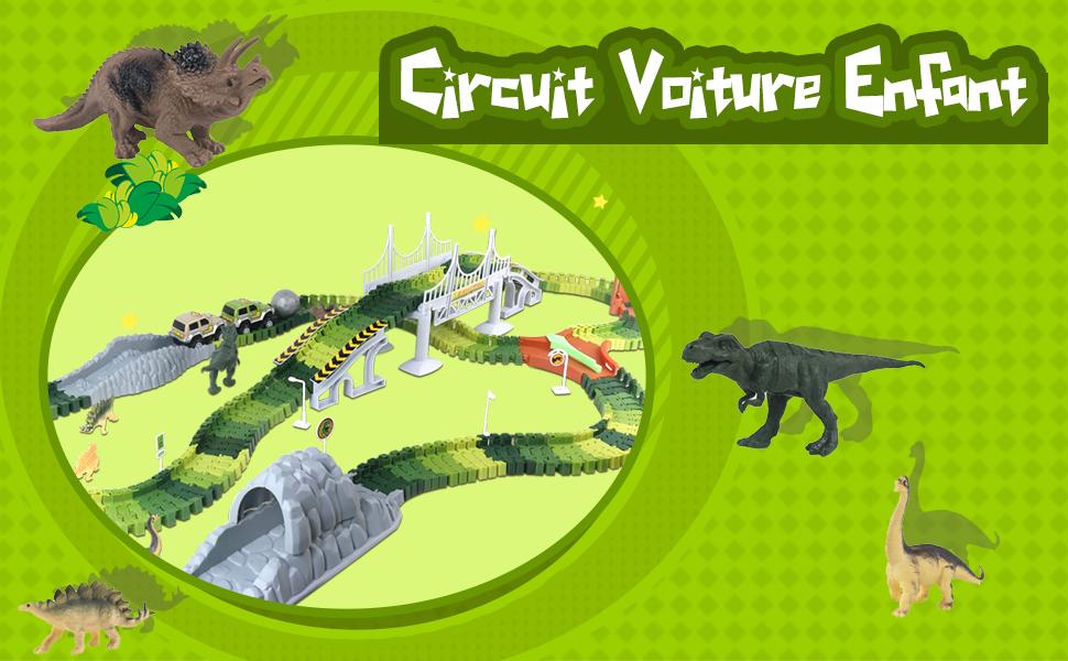 Nuheby Circuit Voiture Enfant Circuit Dinosaures Jouet Circuit Flexible 264 P...