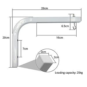 soporte universal de pared para pantalla de proyeccion manual o electrica en forma de L