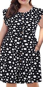 BEDOAR Women's O-Neck Ruffle Sleeve Button Down Plus Size Casual Midi A-Line Swing Dress