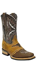 silverton longhorn genuine leather western square toe brown cowboy boots