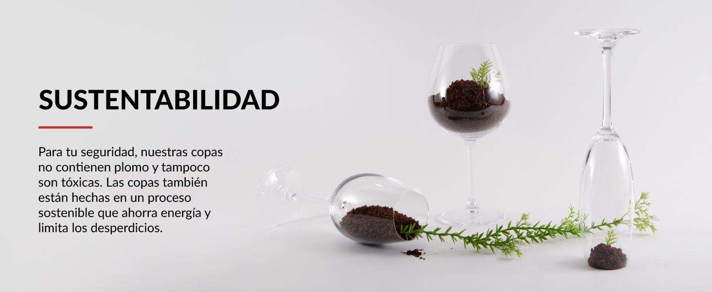 copas de vino tinto blanco copa cava sin plomo ni tóxicos completamente sostenibles