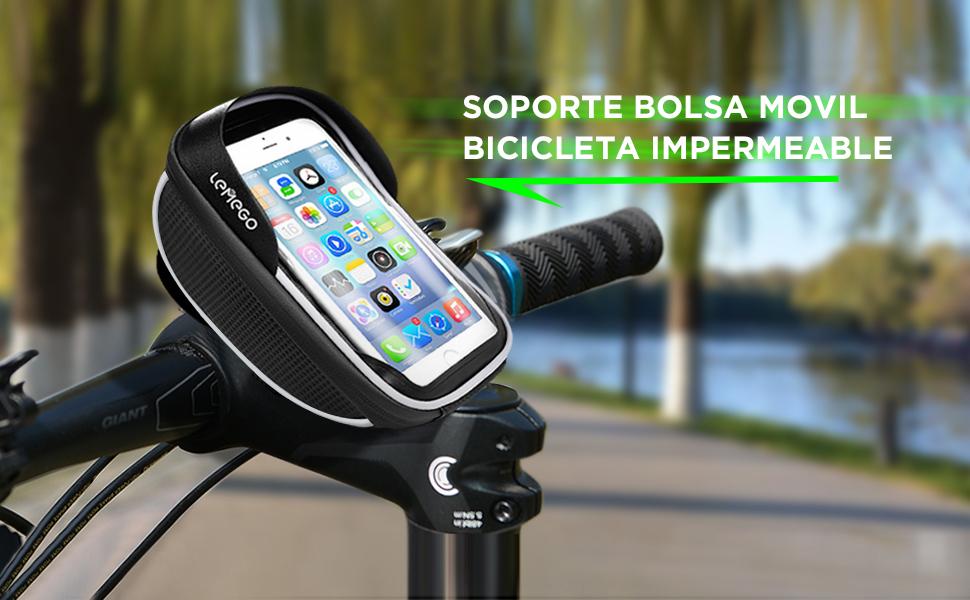 LEMEGO Soporte Bolsa Movil Bicicleta, Bolsa Bicicleta Impermeable ...