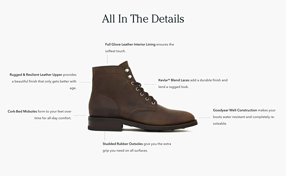 Thursday Boot Company President Men's Lace-up Boot all in the details