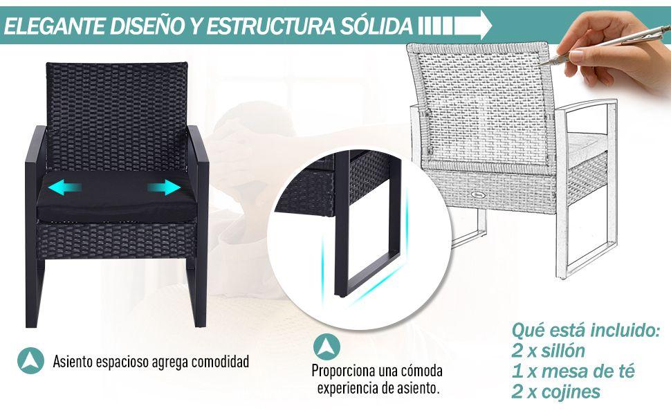 Outsunny Conjunto de Jardín Exterior Negro Conjunto de Muebles de ...