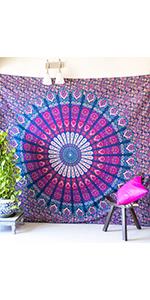 boho room decor, dorm room decor, hippie room decor, peacock decor, pink tapestry, boho tapestry
