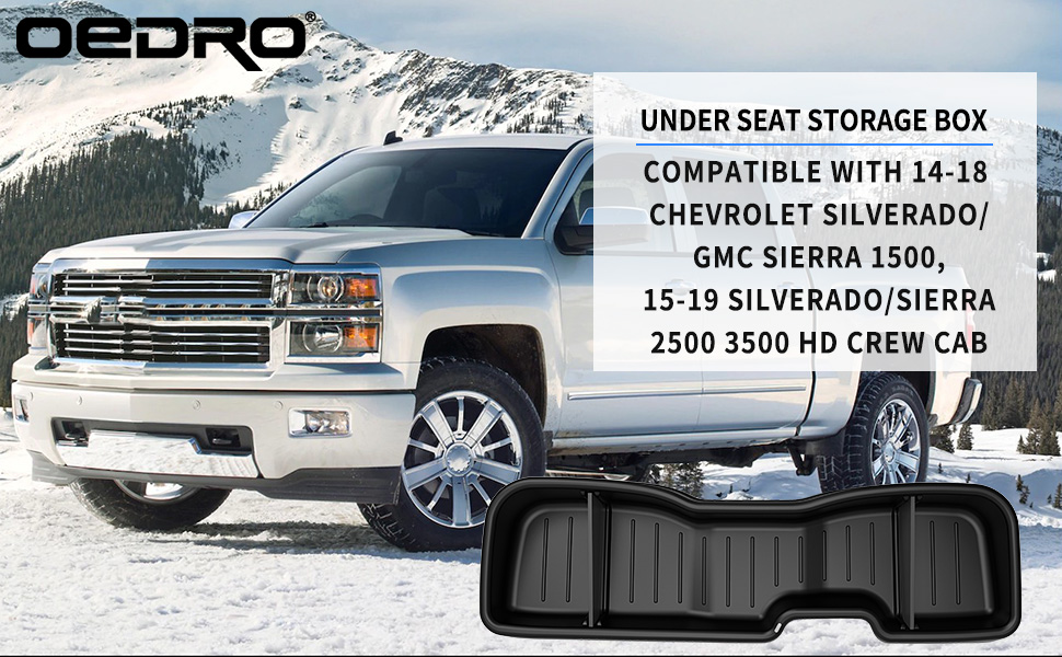 oEdRo Under Seat Storage Compatible with Chevrolet Silverado//GMC Sierra 2014-2018 LD Crew Cab /& 2015-2019 HD Crew Cab