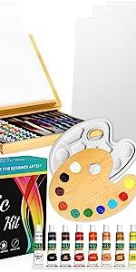 KEFF Acrylic Paint Set – Beech Wood Table Easel, 12 nontoxic Acrylic Paint Tubes, Canvas Panels