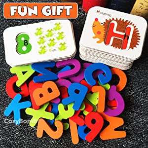 FunzBo Alphabet and Number Flash Cards - Wooden Alphabets Jigsaw Puzzle Flashcards for Toddlers Age