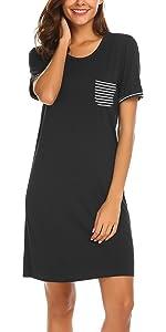Women nightgown sleepwear short sleeve summer cotton soft