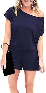 Women's Off shouler rompers shorts