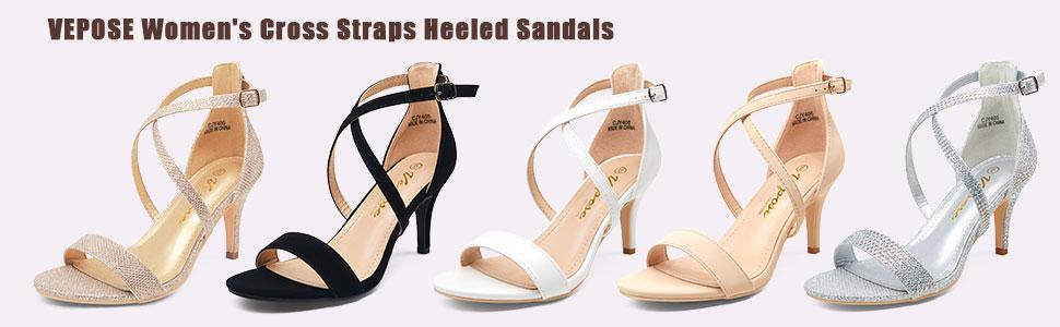 vepose women cross straps heeled sandals