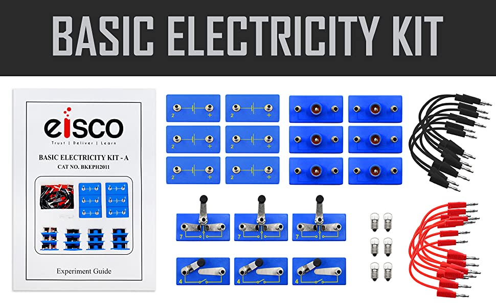 EISCO Comprehensive Basic Electricity Kit for Building and Studying Circuits 3 Part Kit