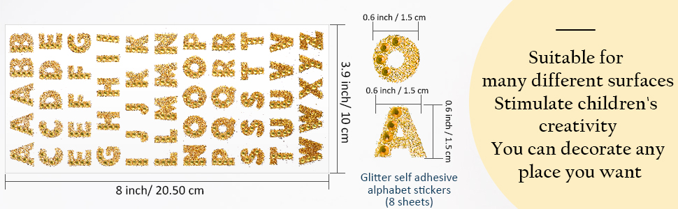 Letras Hoja De Pegatinas alfabeto Creativ 1 Hoja 16,5 X 15 CM 64 Pegatinas