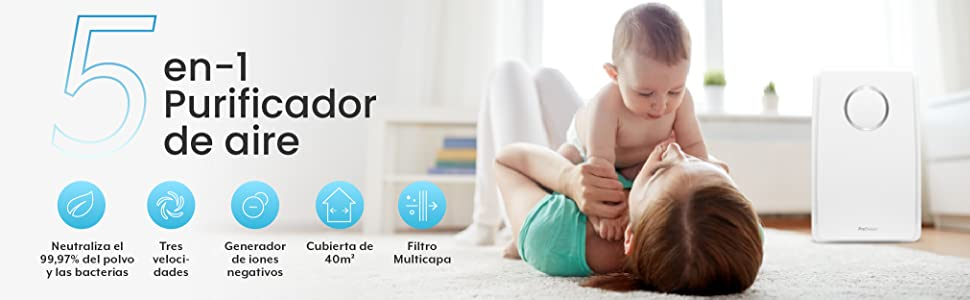 Pro Breeze Purificador de aire 5 en 1 con pre-filtro, filtro HEPA, filtro de carbón activado, catalizador frío y ...