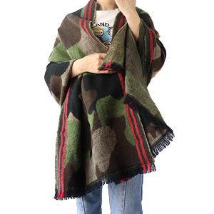 Echolife Cashmere Wool Leopard Print Scarf Poncho Pashmina Shawl and Wrap for Women Blue