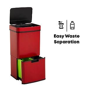 Papelera separadora de residuos.