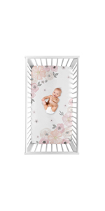 Blush Pink, Grey and White Photo Op Baby or Toddler Fitted Crib Sheet Watercolor Floral Collection