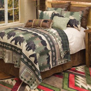 Black Forest Decor Black Bear Log Cabin Quilt on Bed
