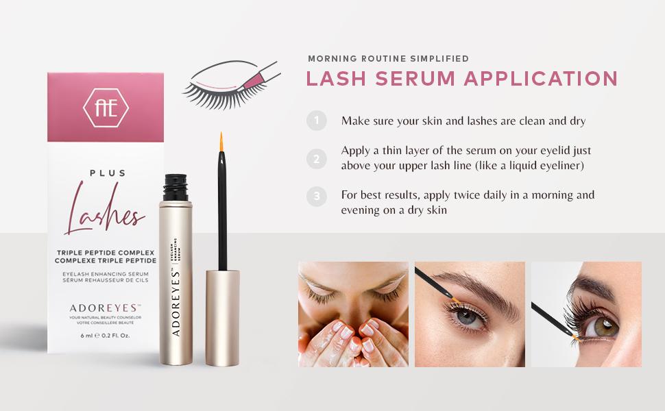 Lash serum application on eyelashes eyebrows