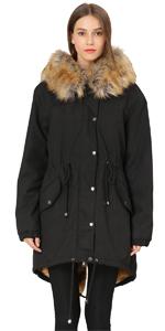 Women Faux Fur Hooded Fleece Lined Parka Jacket
